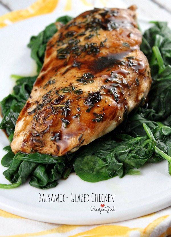Balsamic Glazed Chicken served over spinach