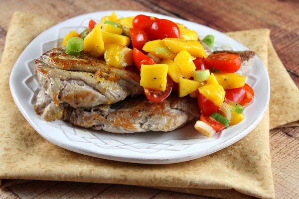 Orange Ginger Pork Cutlets with Mango Tomato Salsa