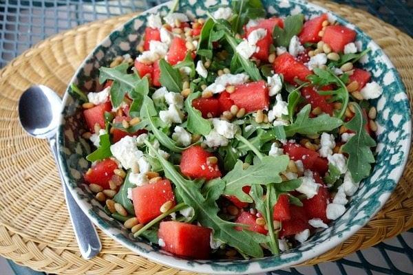 Watermelon, Feta and Arugula Salad recipe from RecipeGirl.com