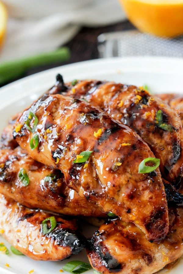 Honey Sriracha Orange Chicken recipe from RecipeGirl.com