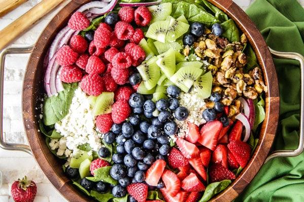 Kiwi Berry Salad with Raspberry Poppy Seed Dressing Recipe - RecipeGirl.com