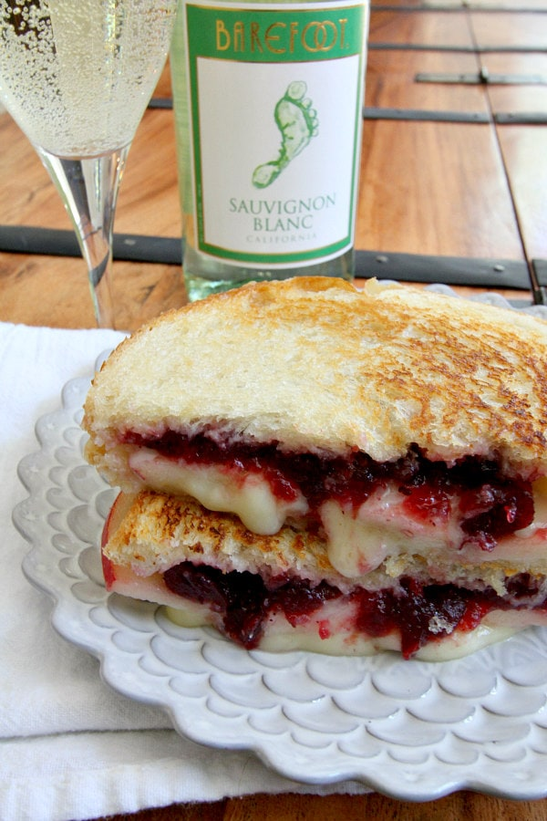 Brie Apple and Cranberry Grilled Cheese