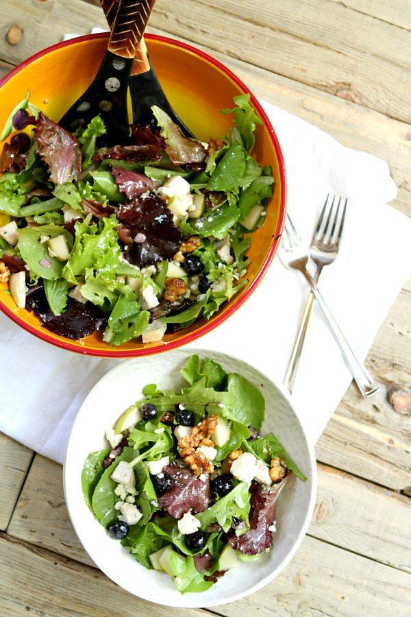 Blueberry, Bleu and Glazed Walnut Salad Recipe from RecipeGirl.com
