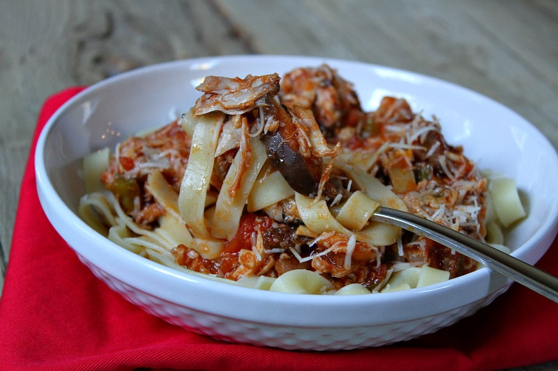 serving of Slow Cooker Chicken Cacciatore served over noodles