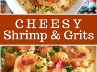 pinterest collage image for cheesy shrimp and grits
