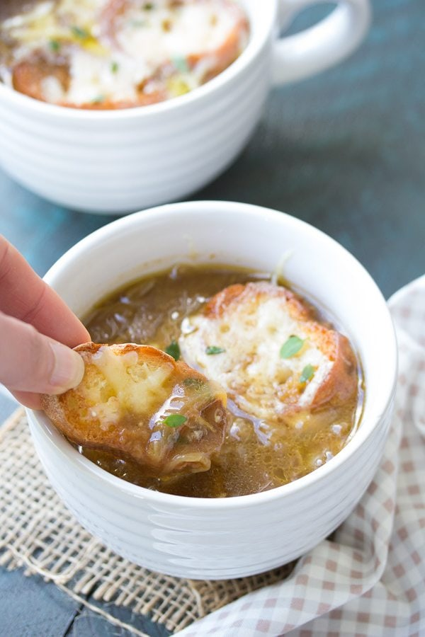 French Bread in Easy French Onion Soup