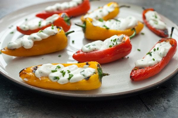 Grilled Sweet Peppers with Goat Cheese - recipe from RecipeGirl.com