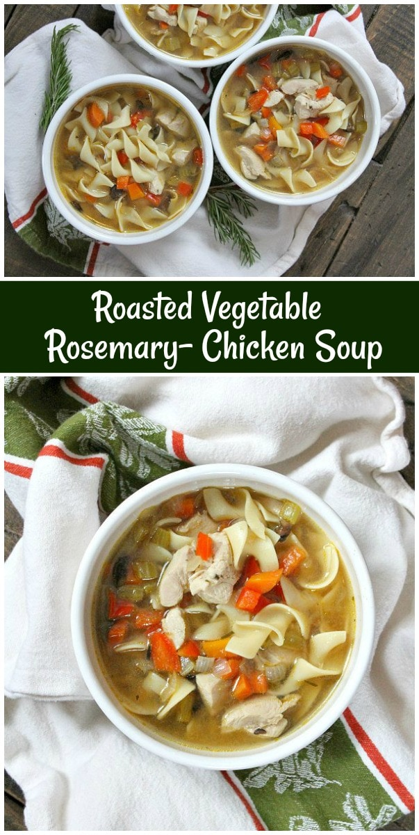 Roasted Vegetable Rosemary Chicken Soup