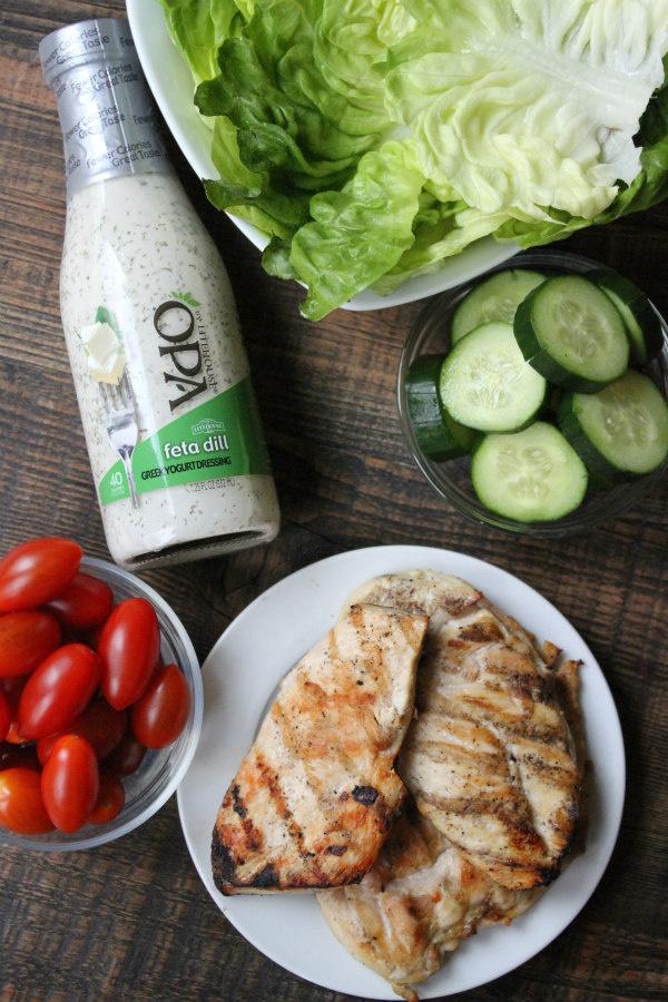 Ingredients for Greek Chicken Lettuce Wraps
