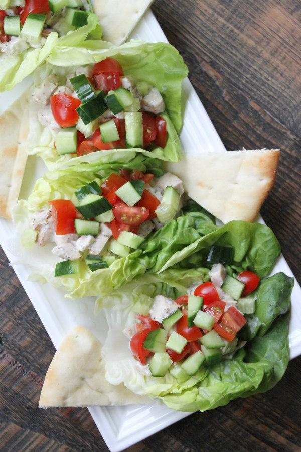 Tray of Greek Chicken Lettuce Wraps