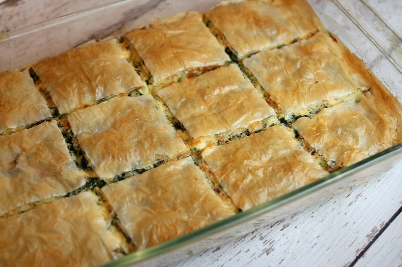 Greek Spinach Pie scored and ready to serve