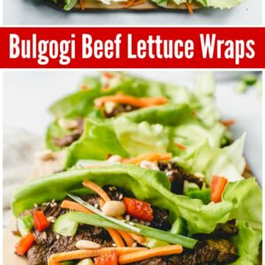 Pinterest collage image for Bulgogi Beef Lettuce Wraps