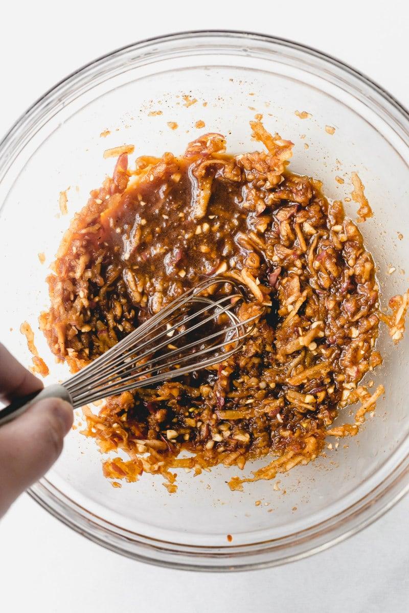 sauce for bulgogi beef in a glass bowl