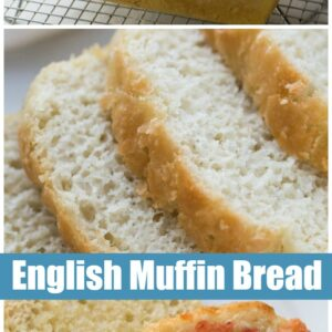 Pinterest collage image for english muffin bread