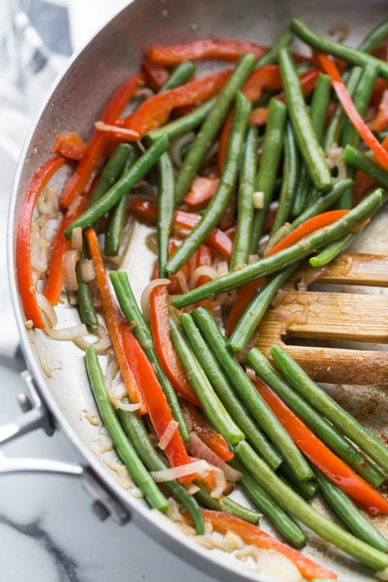 cooking vegetables for thai curry chicken