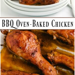 Pinterest collage image for oven baked BBQ chicken