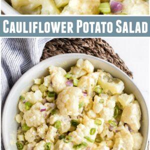 pinterest collage image for cauliflower potato salad
