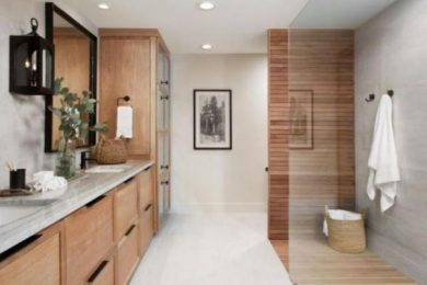 earthy bathroom feature