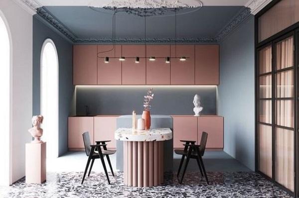 blush pink kitchen feature