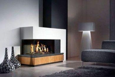 modern living room fireplace feature