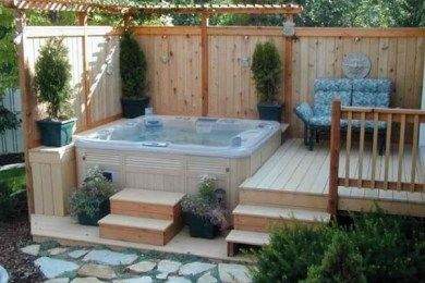 backyard hot tub feature