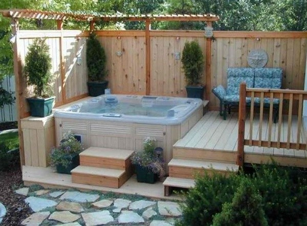 backyard hot tub feature