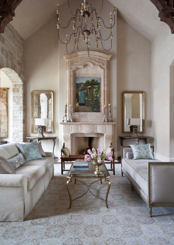 French Country Living Room: Rustic All-White Decor