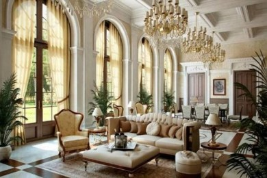 french country living room feature
