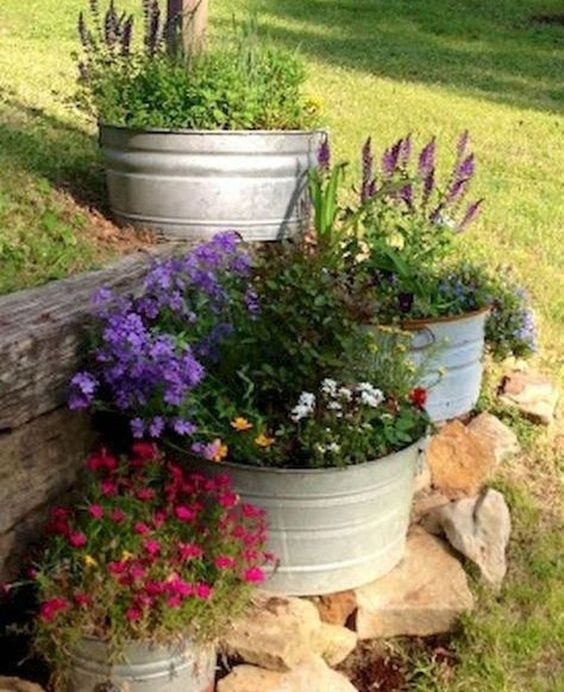 Rustic Backyard Ideas: Adorable Steel Planters