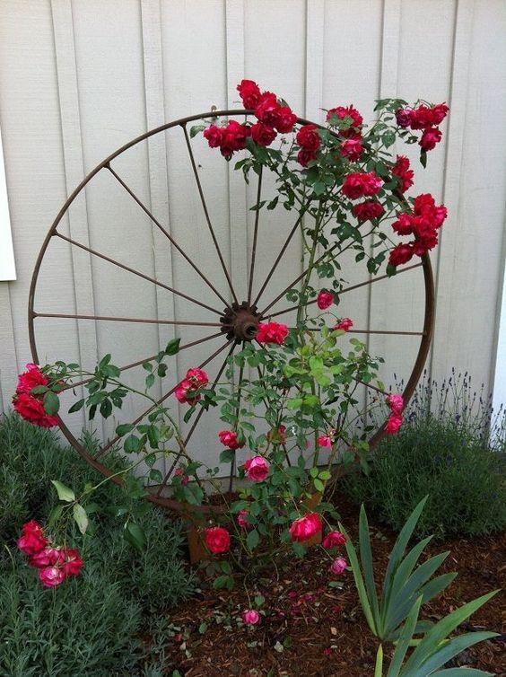 Rustic Backyard Ideas: Gorgeous Wheel Planter