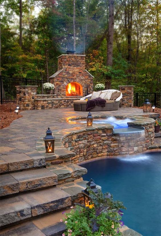 Swimming Pool with Hot Tub: Elegant Rustic Decor