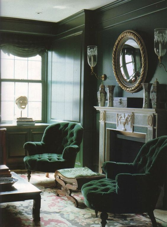 Green Living Room: Modern Victorian Decor