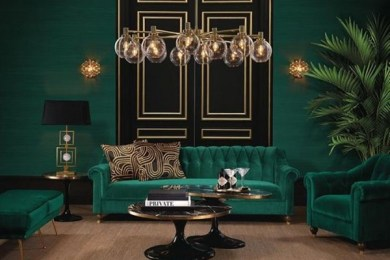 green living room feature
