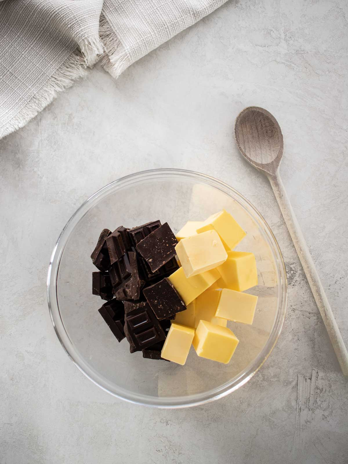 Chocolate and butter in a bowl