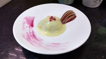 Fruit Ball in Custard Sauce
