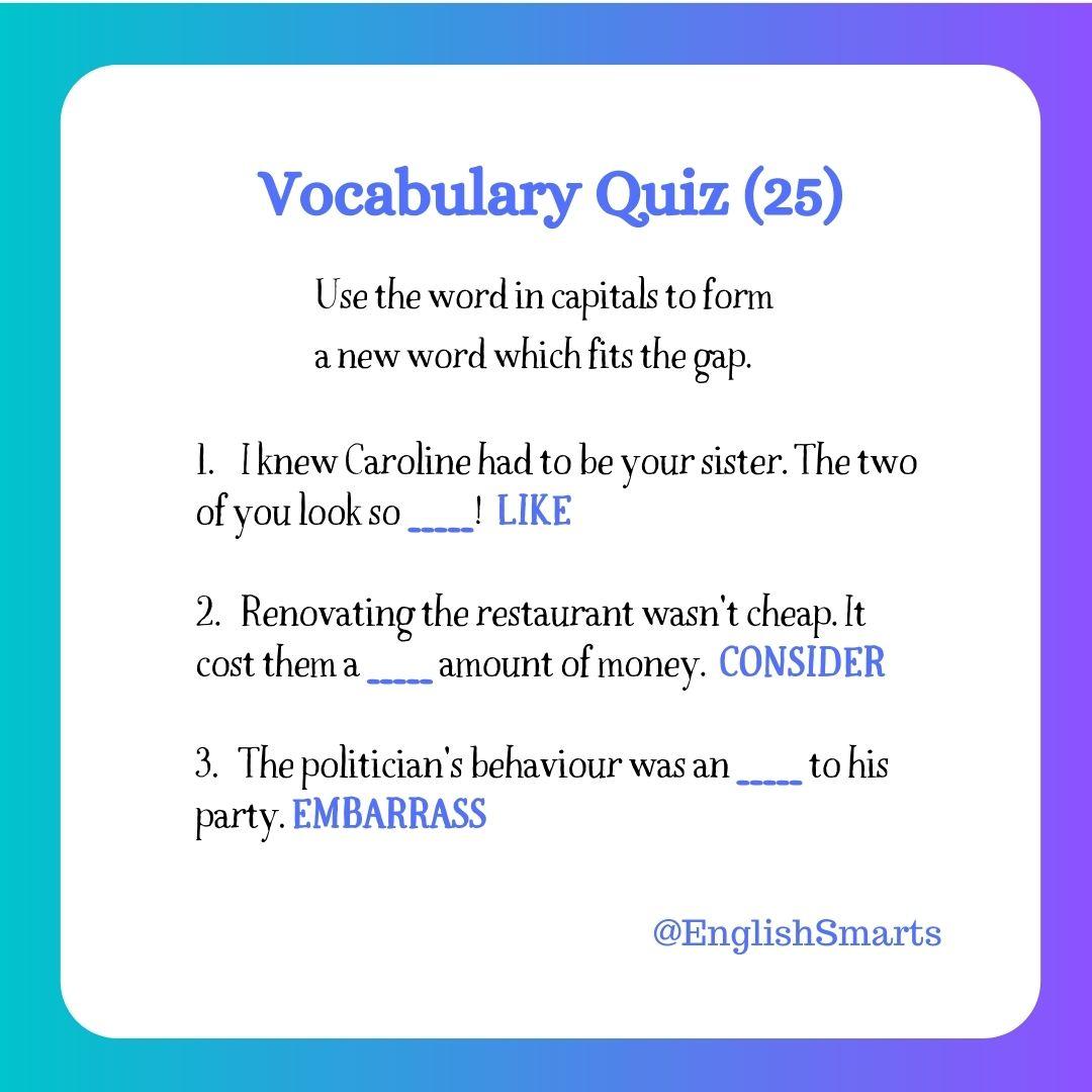 Quick Vocabulary Quiz 25