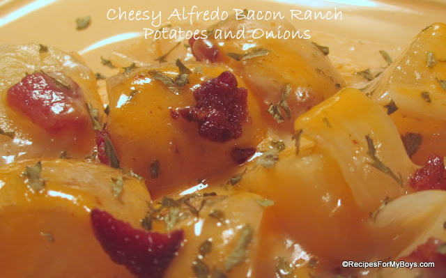 Cheesy Alfredo Bacon Ranch Potatoes and Onions