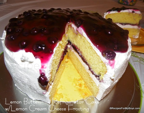 Lemon Buttermilk Refrigerator Cake with Lemon Cream Cheese Frosting and Blueberry Topping