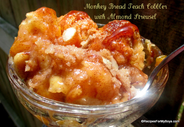 Monkey Bread Peach Cobbler with Almond Streusel
