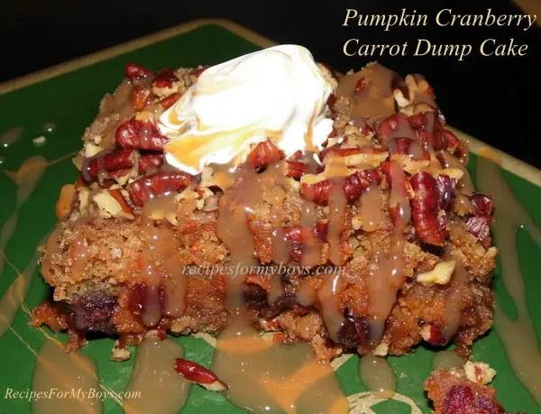 Pumpkin Cranberry Carrot Dump Cake