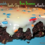 Triple Chocolate Vanilla Chip Bran Brownies w/Vanilla Ganache