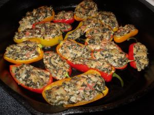 Artichoke, Spinach and Cheese Stuffed Peppers