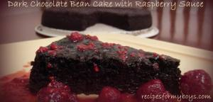 Dark Chocolate Bean Cake with Raspberry Sauce