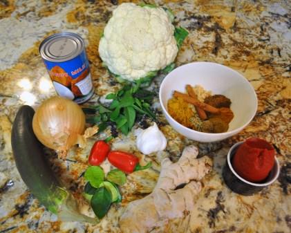 Eggplant & Cauliflower Curry - Ingredients