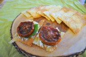 Rosemary Sourdough Crackers with Roasted Tomatoes