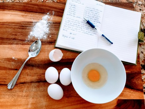 Crack the eggs into a bowl one by one to make sure you don't get any shells in the dough.