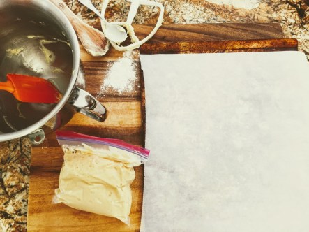 Put the dough into a bag and cut off one corner so you don't have to wash a pastry bag.