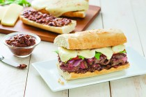 Grilled Pepper Steak and Mozzarella on Baguette