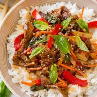 Thai Basil Beef Bowls