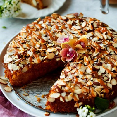 Caramel Soaked Almond Torte